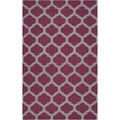 Hand-woven Lompoc Purple Lattice Flatweave Wool Rug