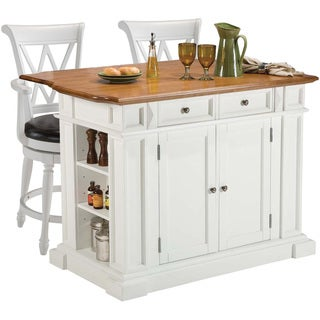 Home Styles White/ Oak Kitchen Island and Two Deluxe Bar Stools
