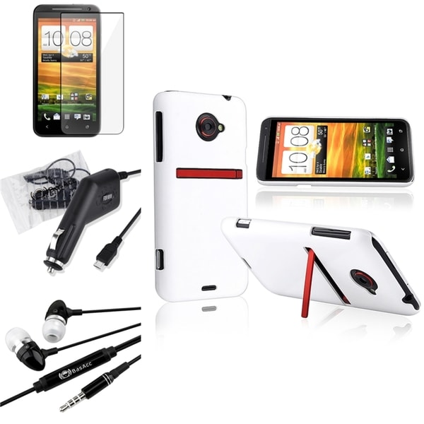 BasAcc White Case/ LCD Protector/ Charger/ Headset for HTC EVO 4G LTE