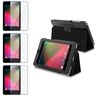 BasAcc Black Leather Case/ Screen Protector Set for Google Nexus 7