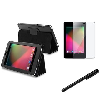 BasAcc Black Leather Case/ Stylus/ Screen Protector for Google Nexus 7