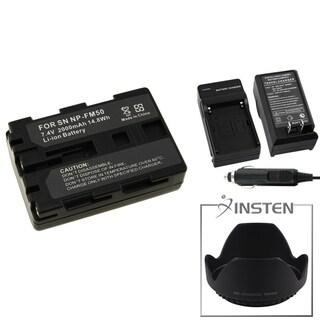 INSTEN Battery/ Charger/ Hood for Sony Alpha DSLR-A100/ DSC-F707/ F717
