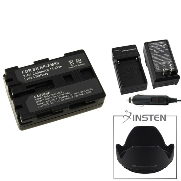 INSTEN Battery/ Charger/ Hood for Sony Alpha DSLR-A100/ DSC-F707/ F717