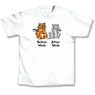 Before Work / After Work White Cat T-Shirt