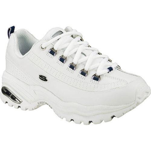 Women's Skechers Energy 3 Premium White Leather/Navy Trim (WNV)