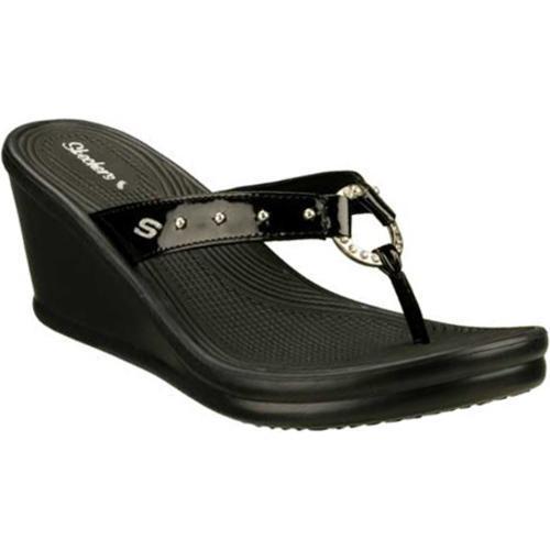 Women's Skechers Rumblers Kitty Black Wedges