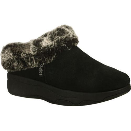 Women's Skechers Tone Ups Spindrift Faux-Fur Black Shoes