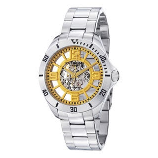Stuhrling Original Men's Neo Winchester Yellow-Dial Skeleton Stainless-Steel Watch