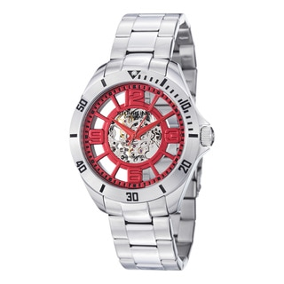 Stuhrling Original Men's Neo Winchester Red-Dial Skeleton Stainless-Steel Watch