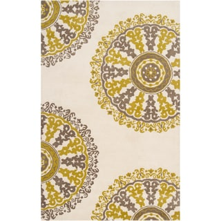 Hand-tufted Driftwood Geometric Medallion Wool Rug
