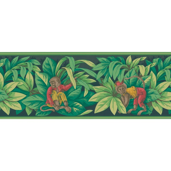 Brewster Monkey Green Leaves Wallpaper Border