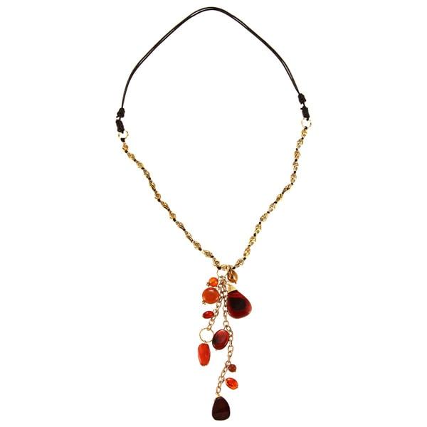 Goldtone Freshwater Pearl Chalcedony Quartz Necklace