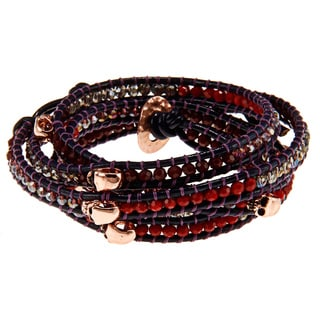 Cubic Zirconia Purple and Red Wrap Fashion Bracelet