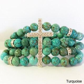 Goldtone Natural Stone Retro Vintage Cross Stretch Bracelet