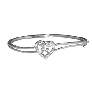 Sterling Silver 1/10ct TDW Diamond Mother and Child Heart Bangle Bracelet (IJ/I2, I3)