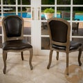Christopher Knight Home Maryland Leather Weathered Wood Dining Chairs (Set of 2)