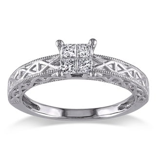 Miadora 10k White Gold 1/4ct TDW Princess Cut Diamond Ring (G-H, I1-I2)