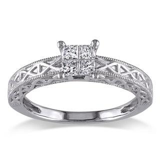 Miadora 10k White Gold 1/4ct TDW Princess Cut Diamond Ring (G-H, I1-I2)