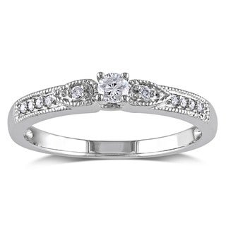 Miadora 10k White Gold 1/6ct TDW Diamond Engagement Ring (G-H, I1-I2)