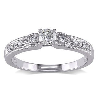 Miadora 10k White Gold 1/3ct TDW Diamond Engagement Ring (G-H, I1-I2)