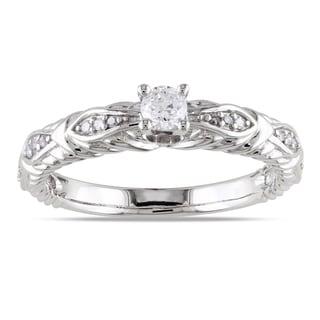 Miadora 10k White Gold 1/4ct TDW Diamond Engagement Ring (G-H, I1-I2) with Bonus Earrings