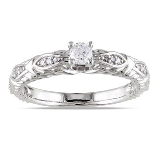 Miadora 10k White Gold 1/4ct TDW Textured Diamond Ring (G-H, I1-I2)