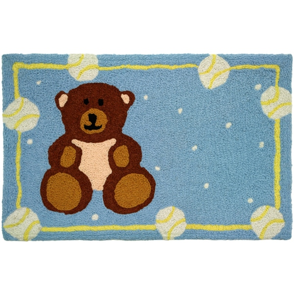 Jellybean 'Teddy Bear and Baseballs' Indoor/ Outdoor Accent Rug (1'9 x 2'9)