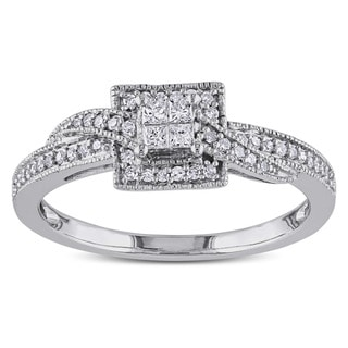 Miadora 10k White Gold 1/4ct TDW Princess-cut Diamond Ring (G-H, I1-I2) with Bonus Earrings