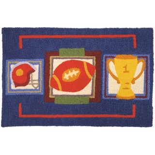Jellybean 'Football Time' Indoor/ Outdoor Accent Rug (1'9 x 2'9)