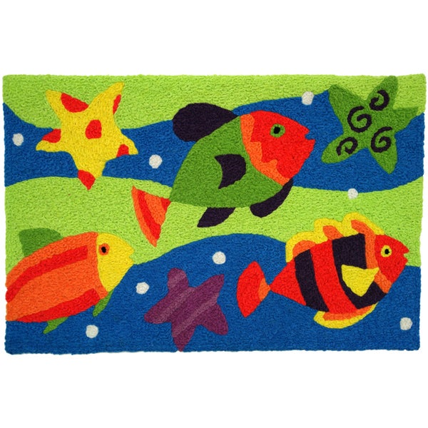 Jellybean 'Fish School' Indoor/ Outdoor Accent Rug (1'9 x 2'9)