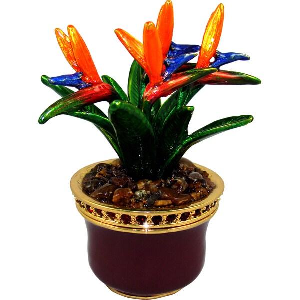 Objet d'art 'Bird Of Paradise' Flower Trinket Box