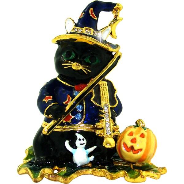 Objet d'art 'Midnight' Halloween Cat Trinket Box