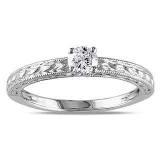 Miadora 14k White Gold 1/3ct TDW Textured Diamond Engagement Ring (G-H, I1-I2) with Bonus Earrings