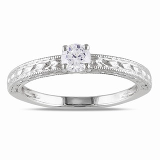 Miadora 14k White Gold 1/3ct TDW Textured Diamond Ring (G-H, I1-I2)