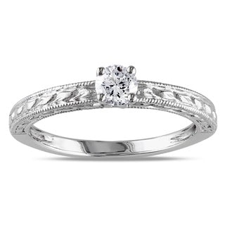 Miadora 14k White Gold 1/3ct TDW Textured Diamond Engagement Ring (G-H, I1-I2)