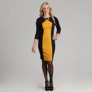 London Times Women's Marigold Yellow/ Black 3/4-sleeve Sheath Dress