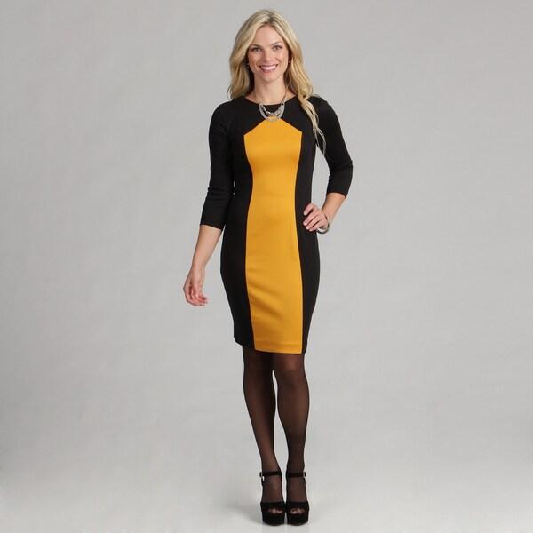 London Times Women's Marigold Yellow/ Black 3/4-sleeve Sheath Dress