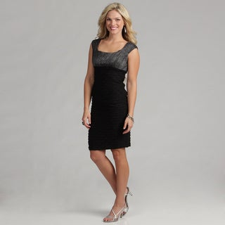 London Times Black/ Silver Jersey Cocktail Dress