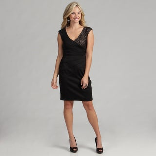 London Times Women's Solid Size 12 Ponte/Lave Dress