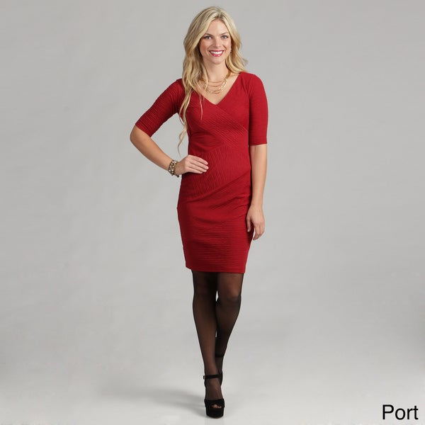 London Times Women's Linear Pucker Knit Dress