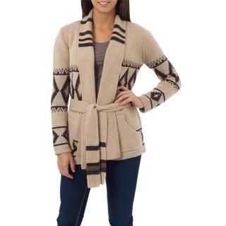 Andean Sierra 100% Alpaca Beige Patterned with Pockets, Shawl Collar and Self Tie Belt Womens Long Sweater Jacket (Peru)