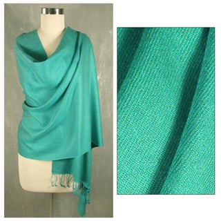Wool and Silk 'Extravagant Aqua' Shawl (India)