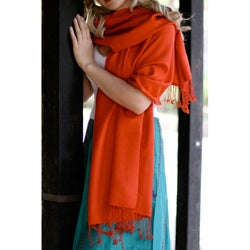 Wool and Silk 'Burning Desire' Shawl (India)