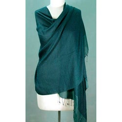 Wool and Silk Blend 'Blue Tuxedo' Shawl (India)