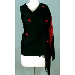 Wool 'Scarlet Seduction' Shawl (India)