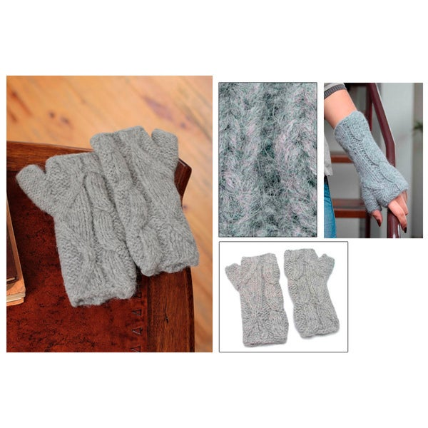 Alpaca 'Winter Clouds' Fingerless Gloves (Peru)