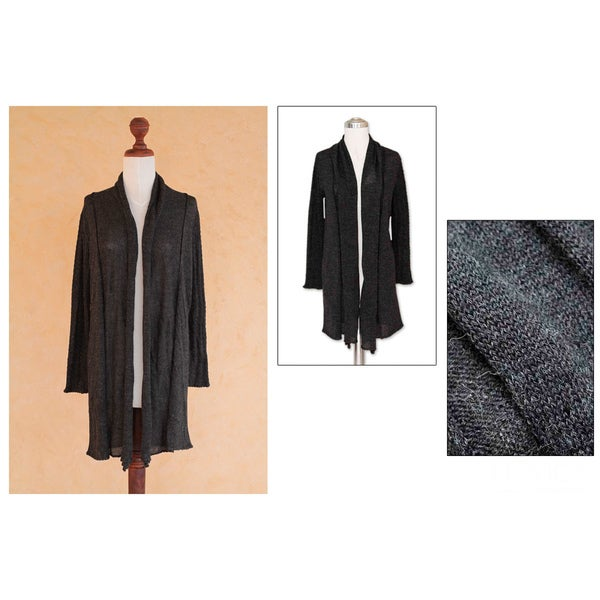 Handmade Nazca Winter Charcoal Gray Light Weight Open Front Rolled Edge Womens Long Sweater Jacket Cardigan ( 10045754