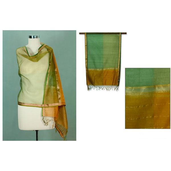 Silk 'Golden Fields' Shawl (India)