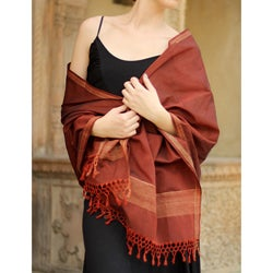 Cotton and Silk 'Indore Autumn' Shawl (India)