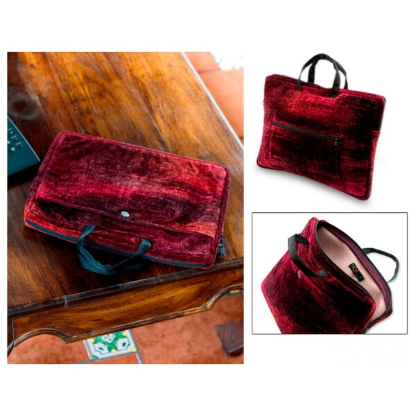 Bamboo Chenille Cotton 'Iridescent Lands' Laptop Case (Guatemala)